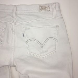 Levi's White Distressed Too Superlow 524 Jeans